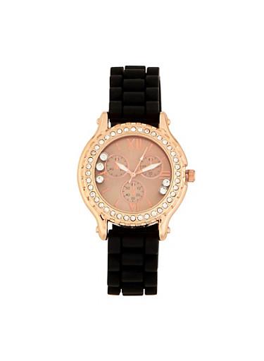 Floating Rhinestone Silicone Watch,BLACK,large