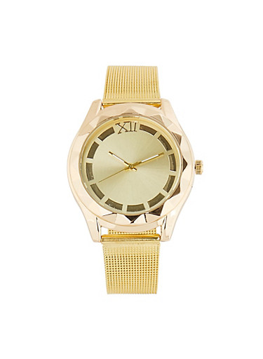 Metallic Mesh Watch,GOLD,large