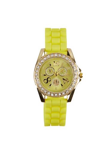 Rhinestone Silicone Band Watch,YELLOW,large