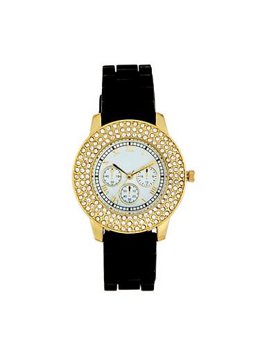 Layered Rhinestone Bezel Watch,BLACK,large