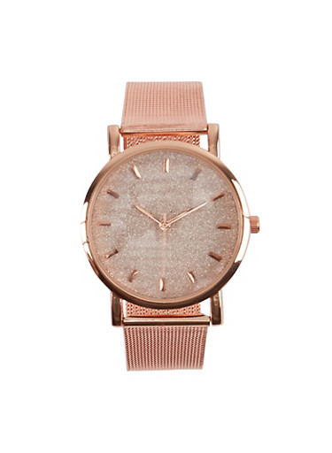 Glitter Face Metallic Mesh Watch,ROSE,large