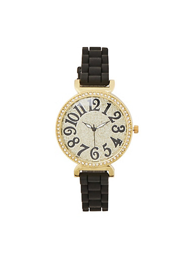 Glitter Rhinestone Skinny Strap Watch,BLACK,large