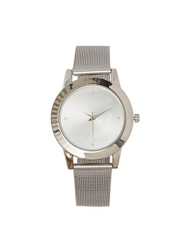 Metallic Mesh Watch | 1140071434011,SILVER,large