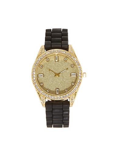 Rhinestone Glitter Silicone Watch,BLACK,large