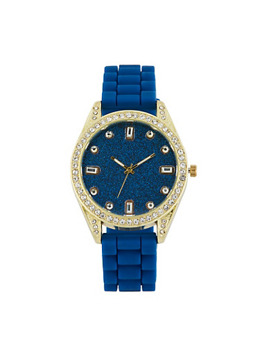Rhinestone Bezel Silicone Strap Watch,NAVY,large