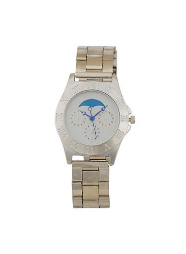 Moon Face Metallic Watch,SILVER,large