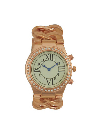 Chain Strap Rhinestone Bezel Watch | Tuggl