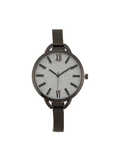 Skinny Metal Mesh Strap Watch,BLACK,large