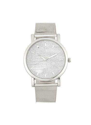 Metal Mesh Strap Watch | 1140071438118,SILVER,large