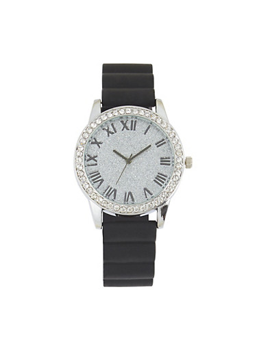 Glitter Face Rubber Strap Watch,BLACK,large
