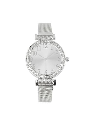 Rhinestone Bezel Metallic Mesh Watch,SILVER,large