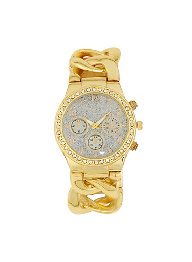 Glitter Face Chain Strap Watch,GOLD,large