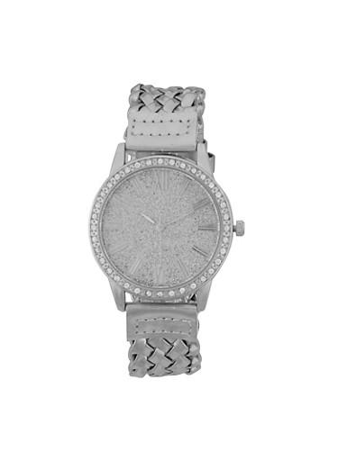 Metallic Woven Strap Watch,SILVER,large