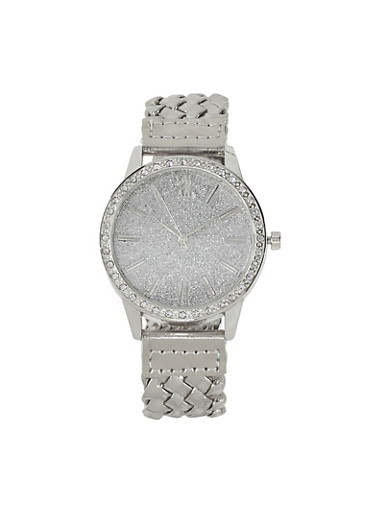 Glitter Face Braided Watch,SILVER,large