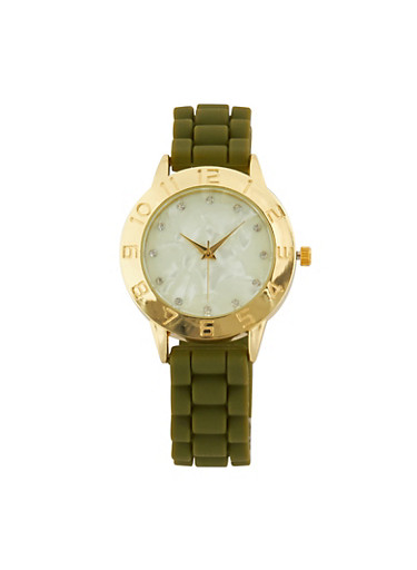 Silicone Woven Rhinestone Watch,OLIVE,large
