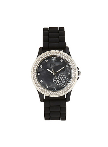 Rhinestone Heart Face Silicone Watch,BLACK,large