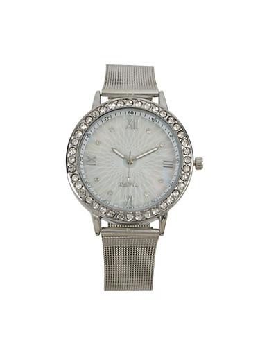 Round Metallic Mesh Watch,SILVER,large