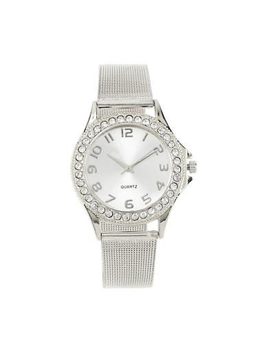 Metallic Mesh Watch,SILVER,large