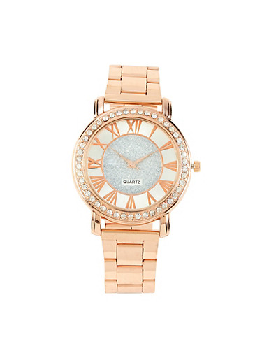 Rhinestone Bezel Metallic Watch,ROSE,large