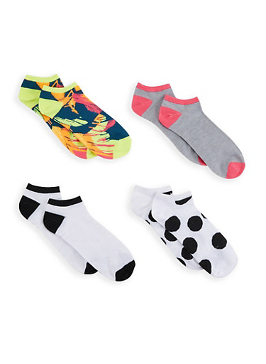 Assorted Set of 4 Ankle Socks,WHITE,large