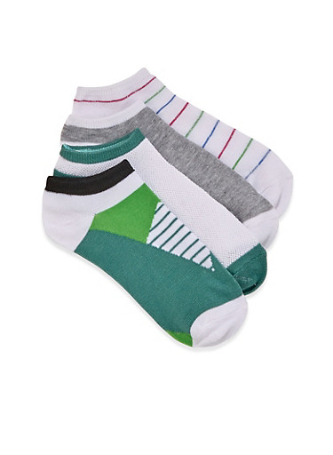 Color Block Striped and Solid Ankle Socks 4 Pack,GREEN,large