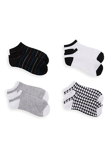4 Pack Houndstooth Assorted Ankle Socks,BLACK/WHITE,large