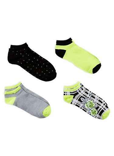 Set of 4 Assorted Ankle Socks,LIME,large
