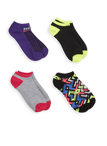 Set of 4 Assorted Ankle Socks,PURPLE,large