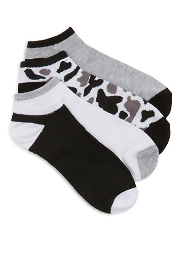 4 Pack of Solid and Camo Ankle Socks,BLACK/WHITE,large