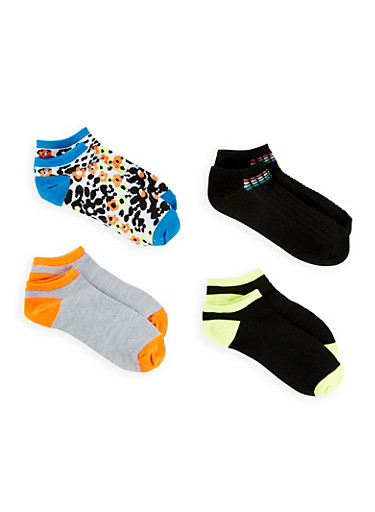 Set of 4 Printed Ankle Socks,BLACK,large