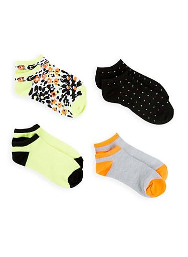 Set of 4 Printed Ankle Socks,LIME,large