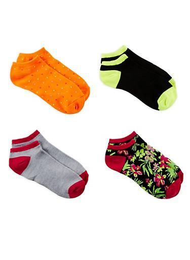 Set of 4 Assorted Ankle Socks,ORANGE,large