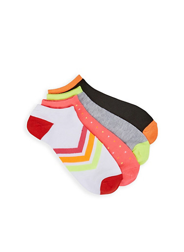 Assorted Chevron Ankle Socks,PINK,large