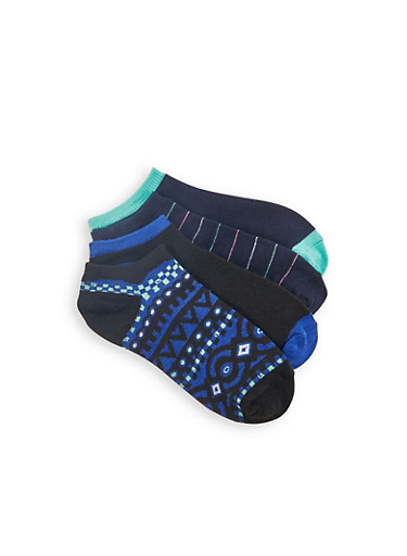Pack of 4 Solid and Printed Ankle Socks,NAVY,large
