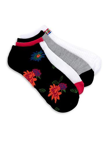 Printed Contrast Trim Ankle Sock Set,BLACK,large