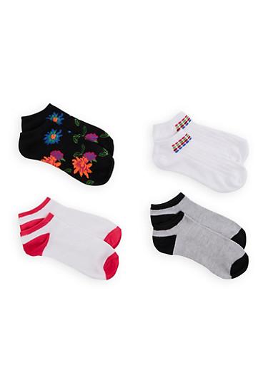 4 Pack Color Block and Floral Ankle Socks,BLACK,large