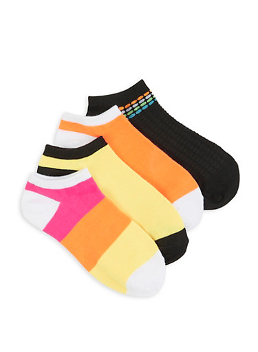 Assorted Color Blocked Ankle Socks 4 Pack Size 9-11,WHITE,large