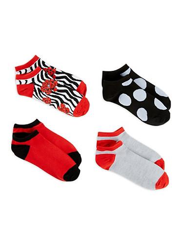 Set of 4 Printed Ankle Socks,MULTI COLOR,large