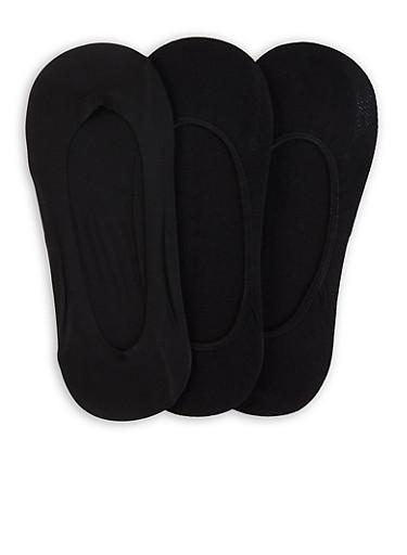 3 Pairs No Show Socks,BLACK,large