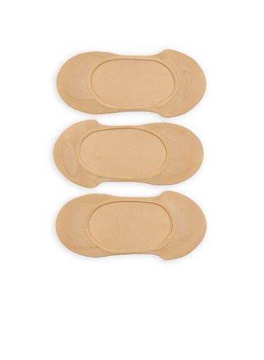 Set of 3 Nude No Show Socks,NATURAL,large
