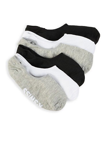 6 Pack Solid No Show Socks,GRAY,large