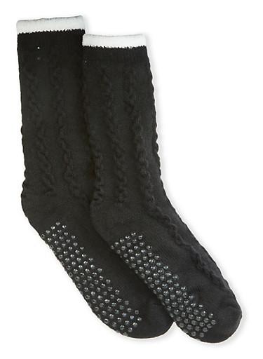 Sherpa Lined Knit Slipper Socks,BLACK,large