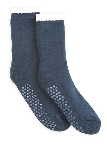 Sherpa Lined Knit Slipper Socks,NAVY,large