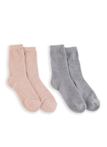 Set of 2 Chenille Socks,HEATHER,large