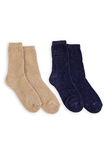 Set of 2 Chenille Socks,TAN,large