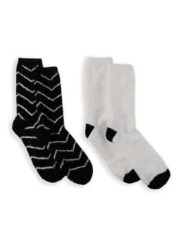 Set of 2 Soft Knit Socks,BLACK,large
