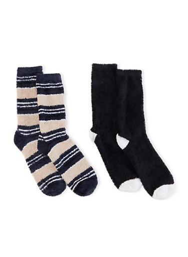 Set of 2 Plush Socks Set,NAVY,large
