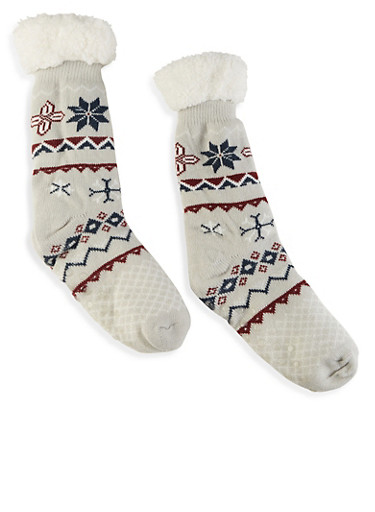 Printed Sherpa Lined Slipper Socks,HEATHER,large