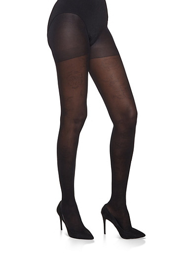 Black Printed Tights | 1150041450086,BLACK,large