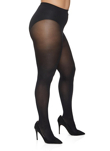 Plus Size Solid Tights,BLACK,large
